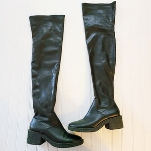 Zara Black Over The Knee Lug Sole Boots 37